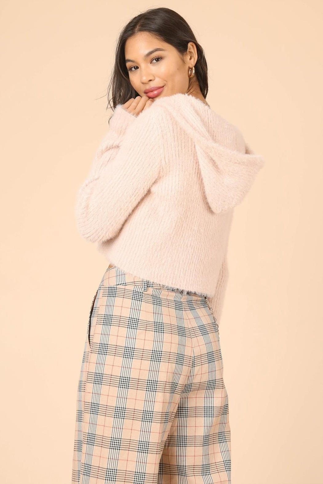 Wild Honey Zipup Fur Sweater - Side Cropped Image