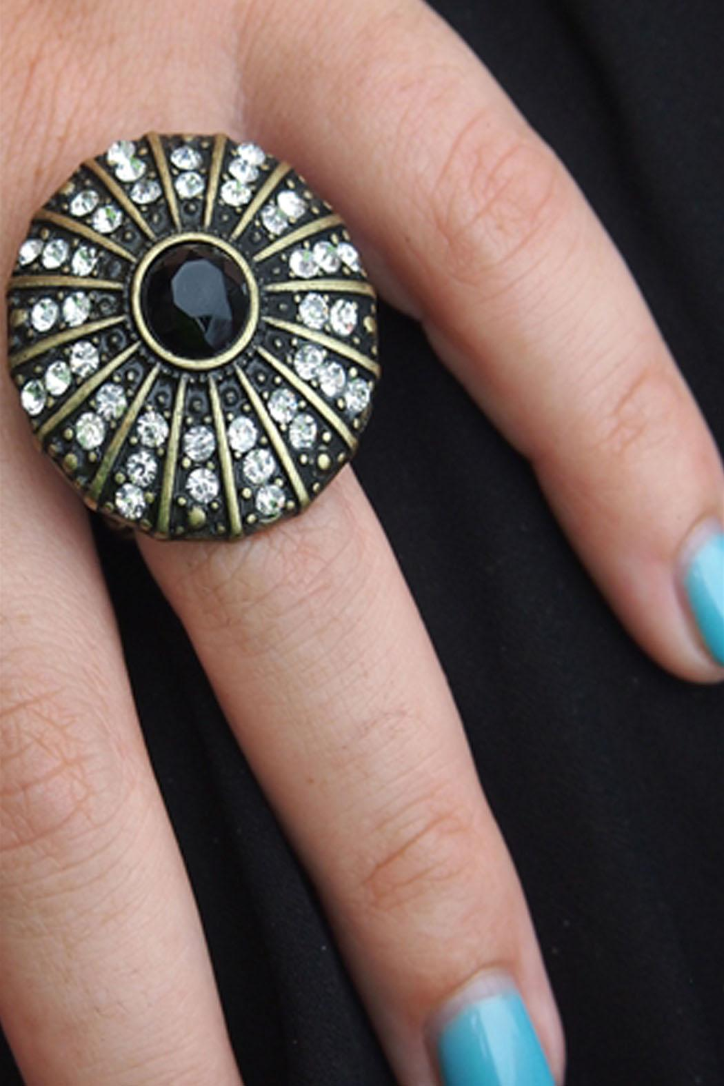 Wild Lilies Jewelry  Black Cocktail Ring - Side Cropped Image