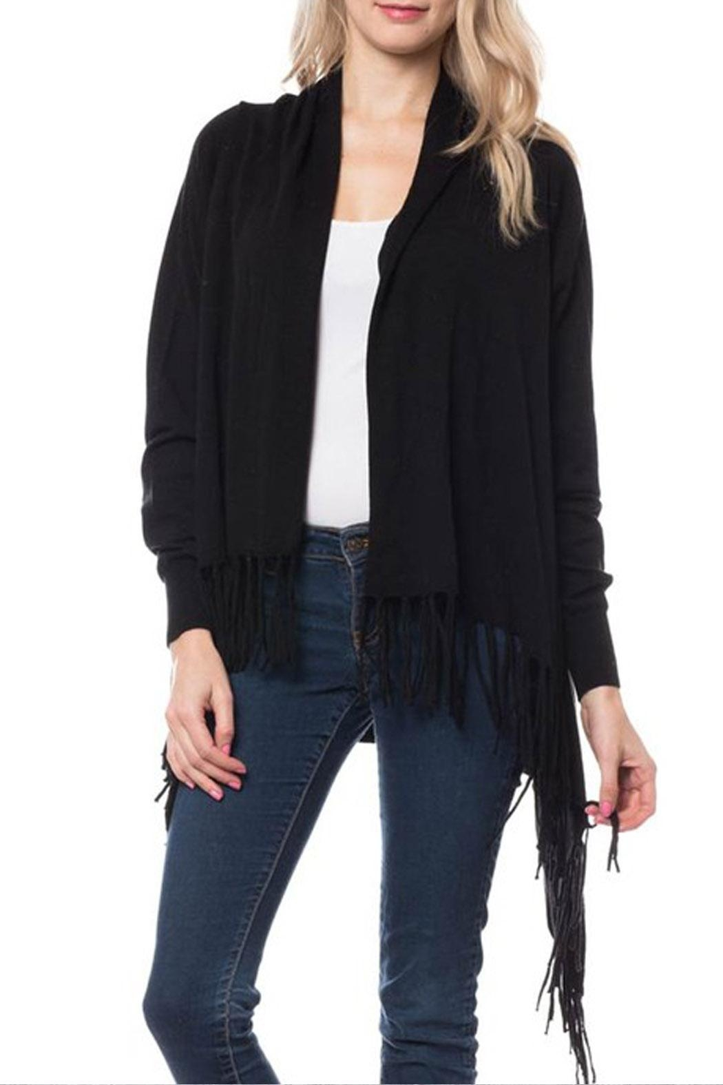 Wild Lilies Jewelry  Black Fringe Cardigan - Front Cropped Image