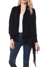 Wild Lilies Jewelry  Black Fringe Cardigan - Front cropped