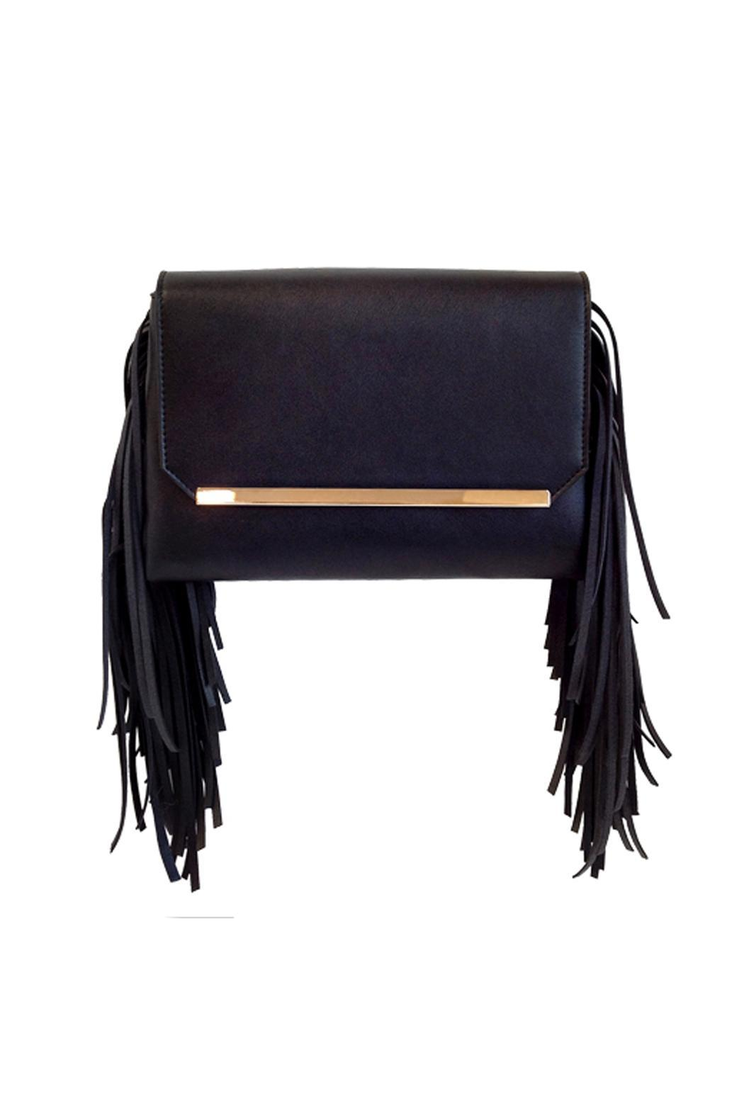 Wild Lilies Jewelry  Black Fringe Clutch - Front Cropped Image