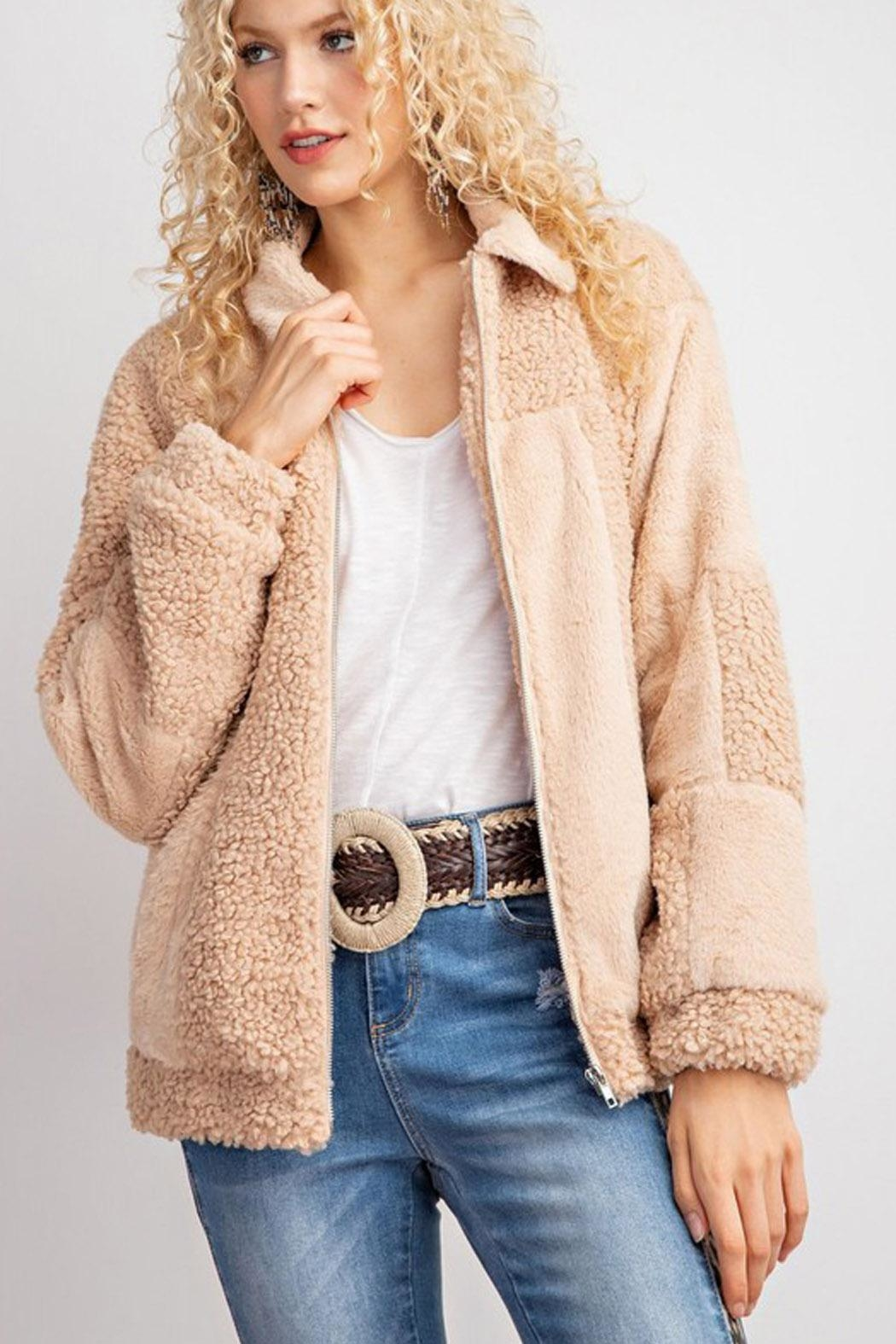 Wild Lilies Jewelry  Bomber Teddy Jacket - Back Cropped Image