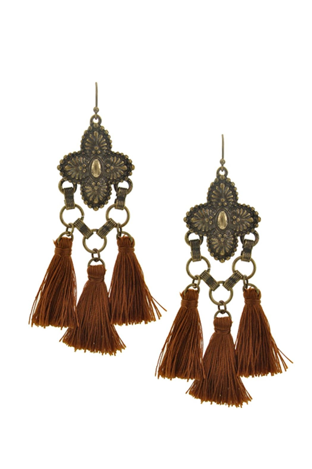 Wild Lilies Jewelry  Brown Tassel Earrings - Front Cropped Image