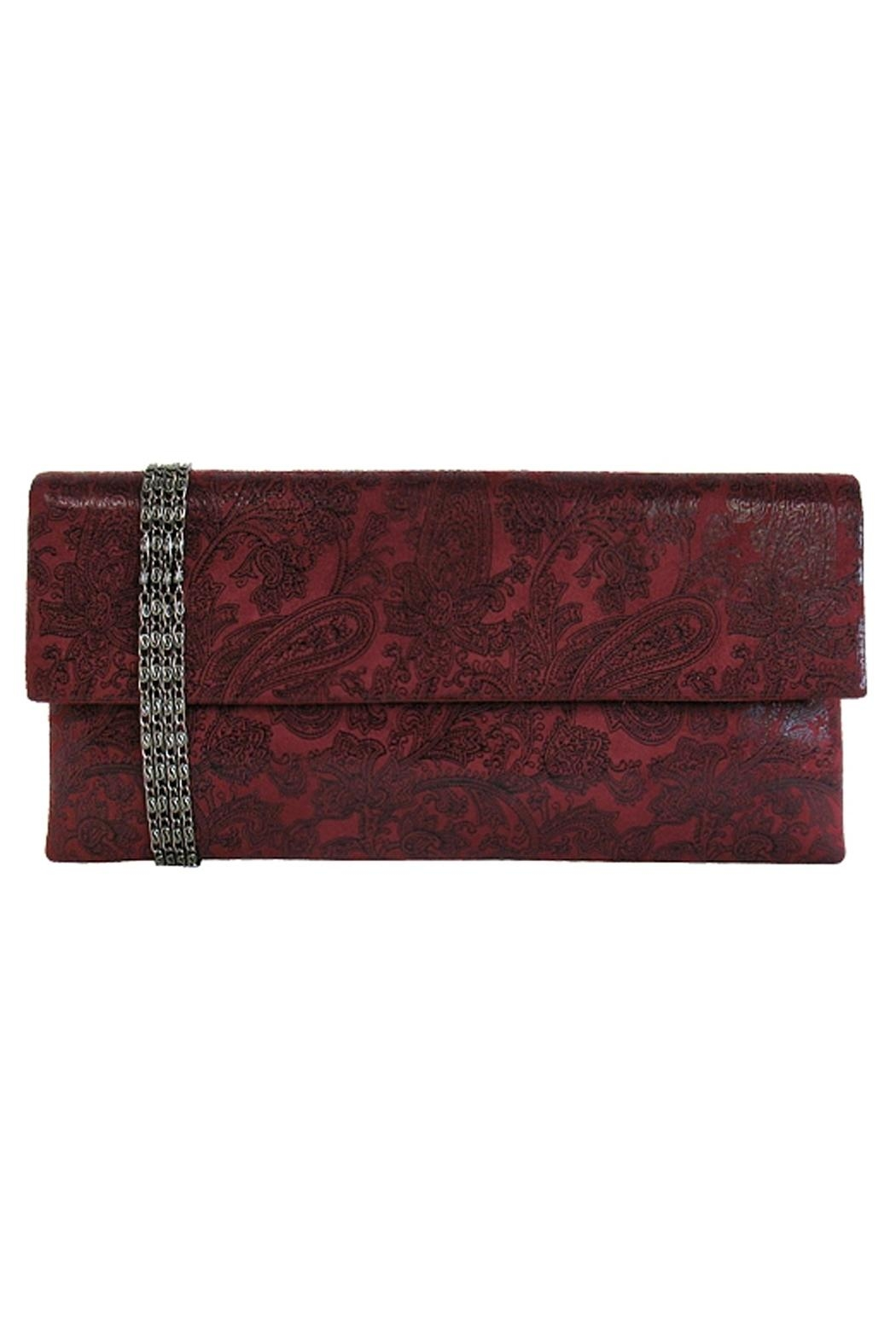 Wild Lilies Jewelry  Burgundy Paisley Clutch - Front Cropped Image