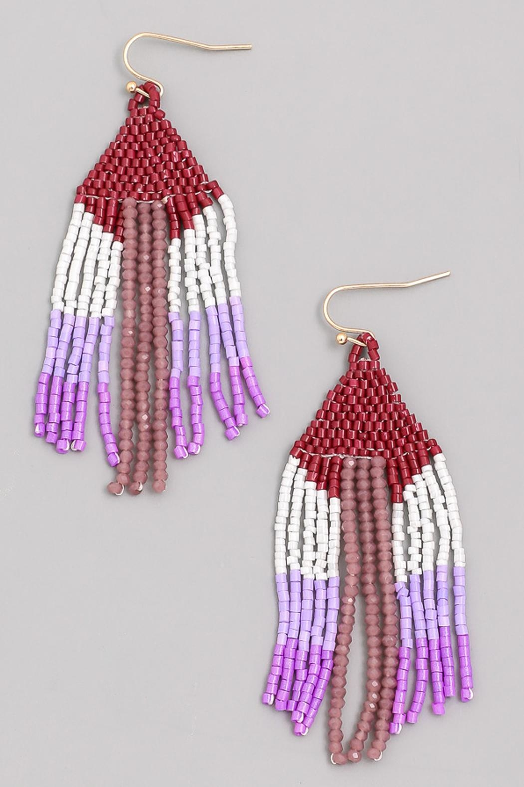 Wild Lilies Jewelry  Burgundy Tassel Earrings - Front Cropped Image