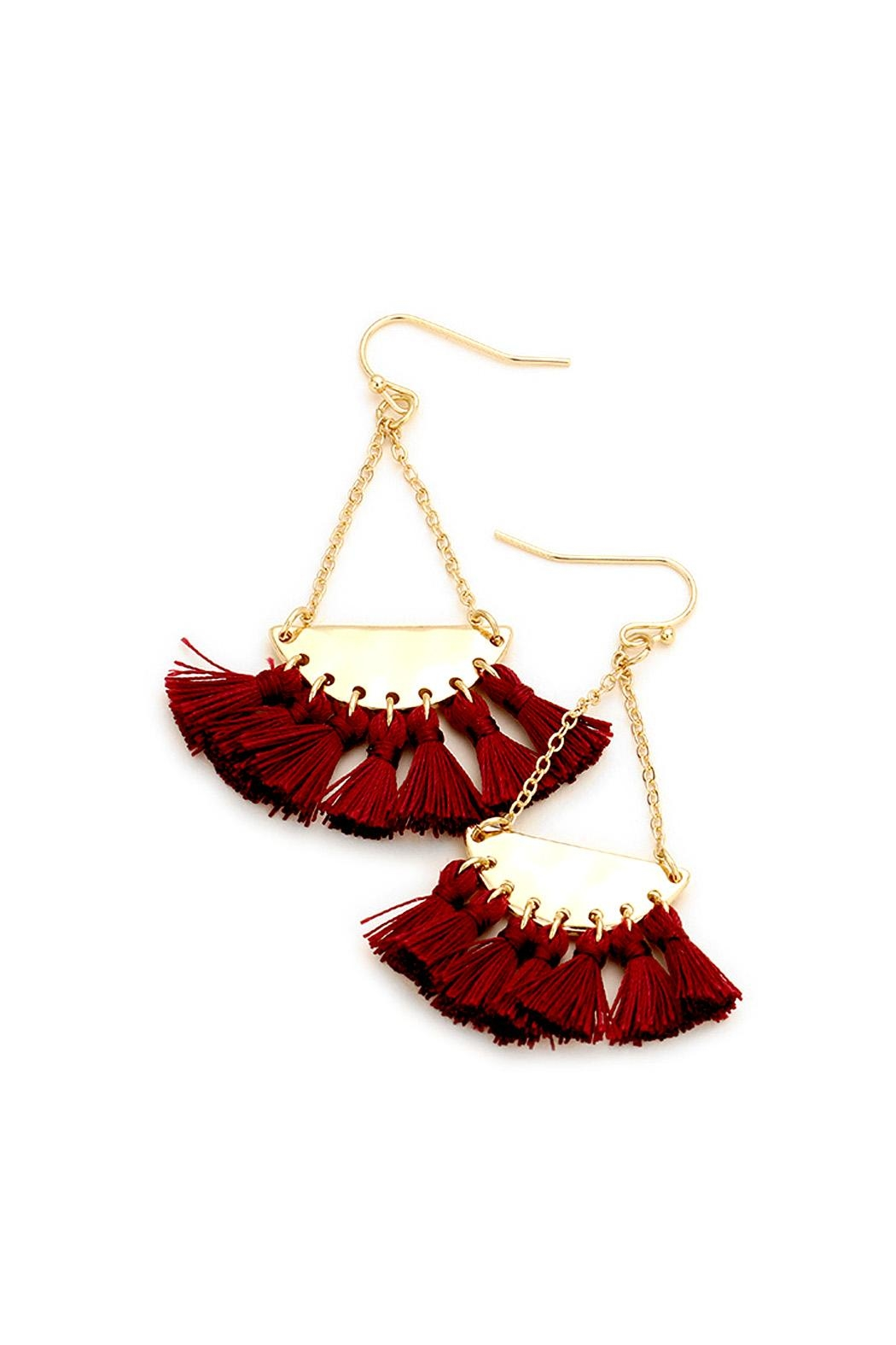 Wild Lilies Jewelry  Burgundy Tassel Earrings - Main Image