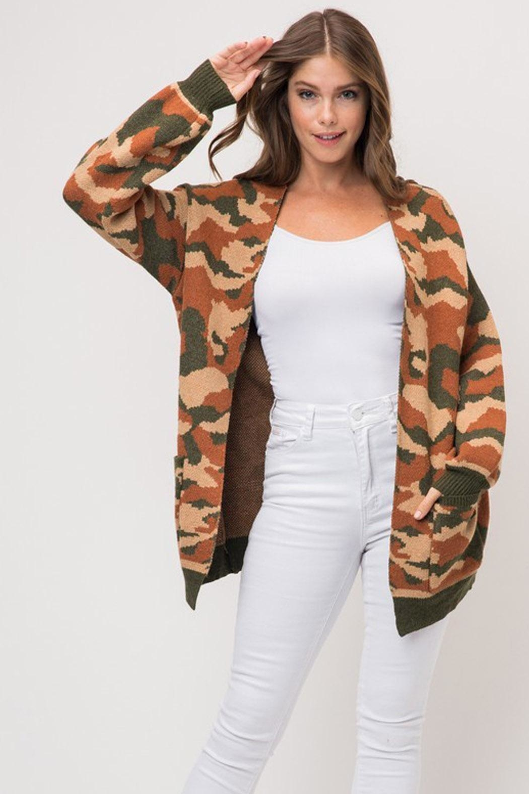 Wild Lilies Jewelry  Camouflage Print Cardigan - Main Image