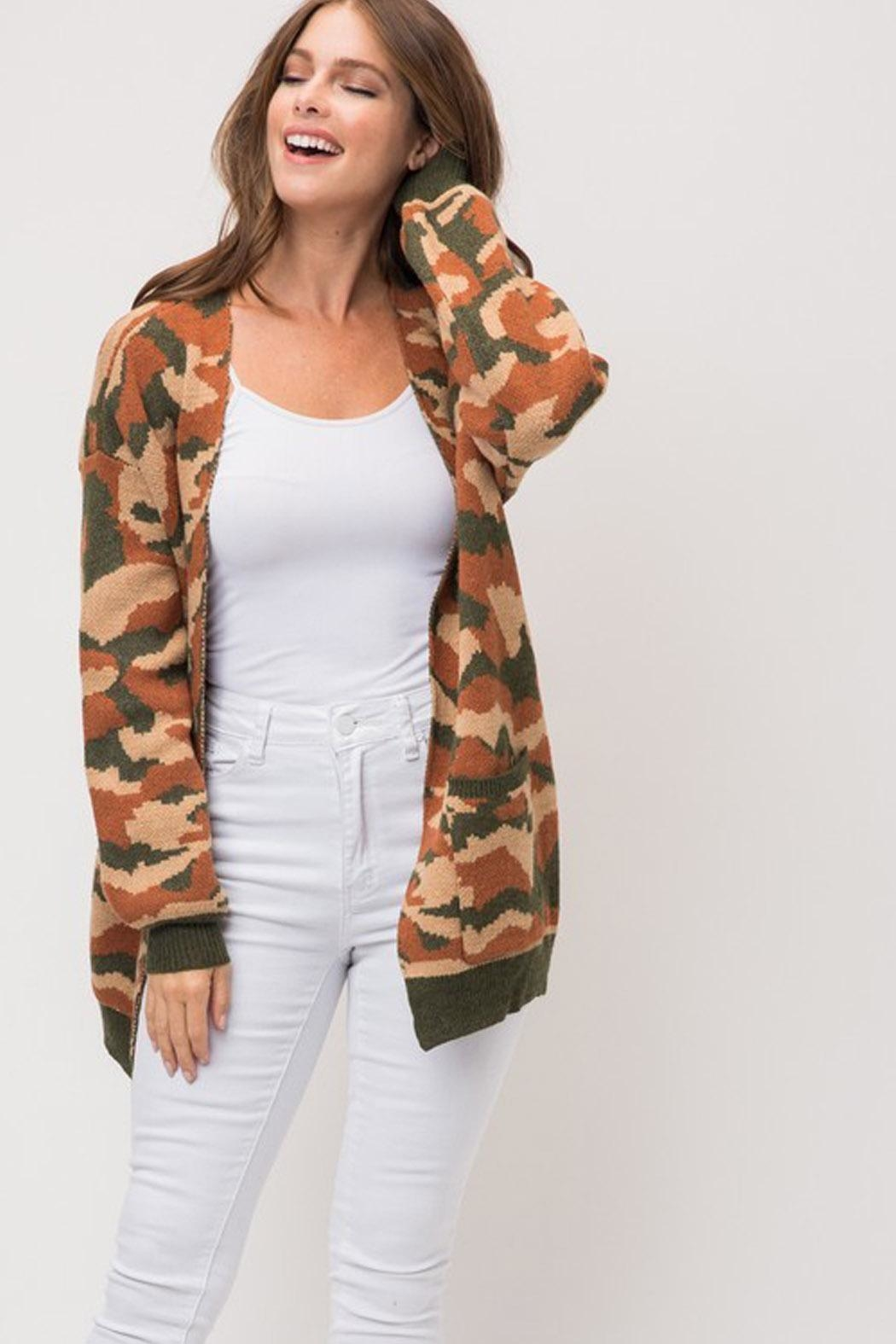 Wild Lilies Jewelry  Camouflage Print Cardigan - Side Cropped Image