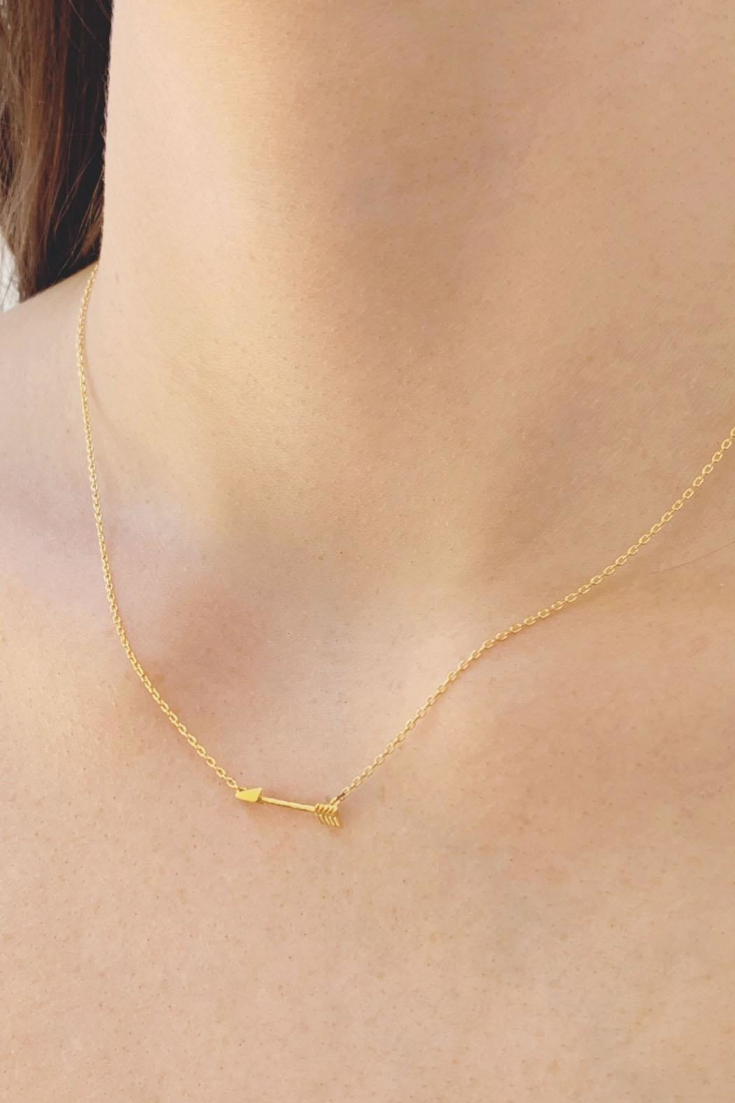 Wild Lilies Jewelry  Dainty Arrow Necklace - Front Cropped Image
