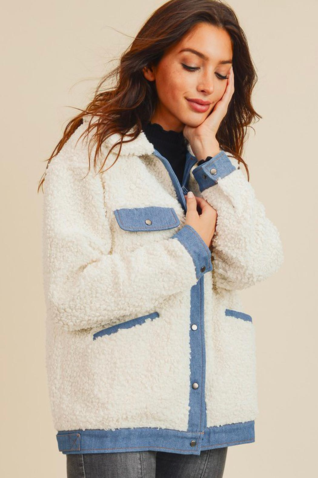 Wild Lilies Jewelry  Denim Sherpa Jacket - Front Cropped Image