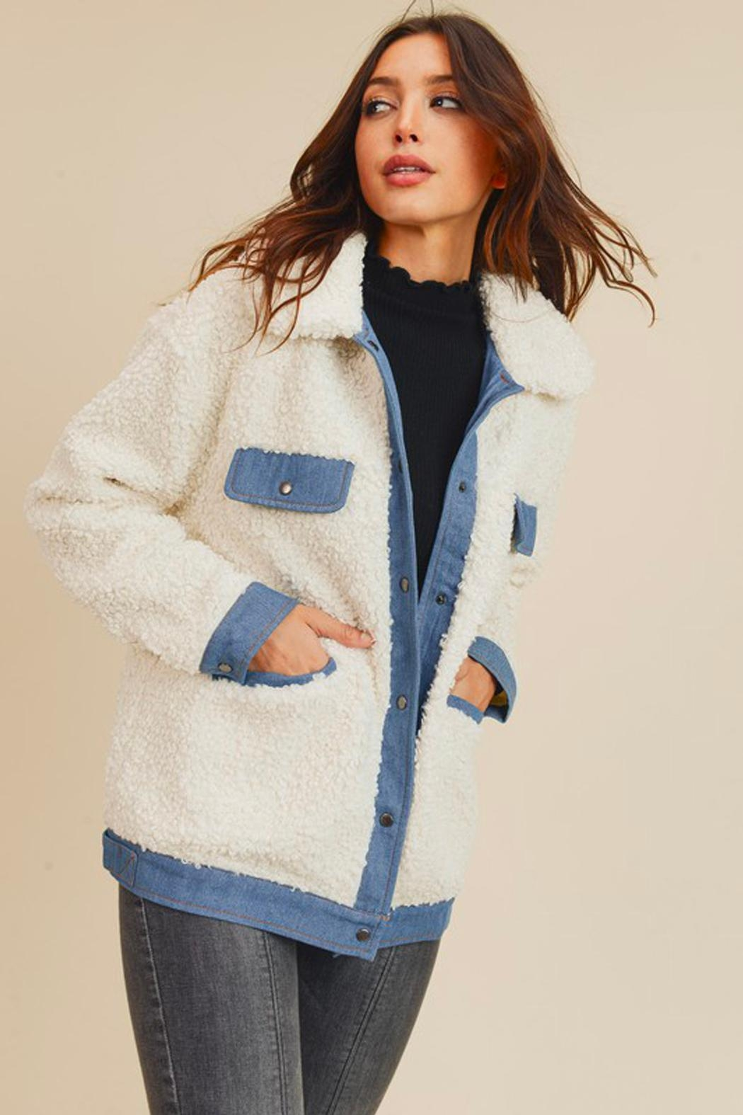 Wild Lilies Jewelry  Denim Sherpa Jacket - Front Full Image