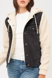 Wild Lilies Jewelry  Denim Sherpa Jacket - Front cropped