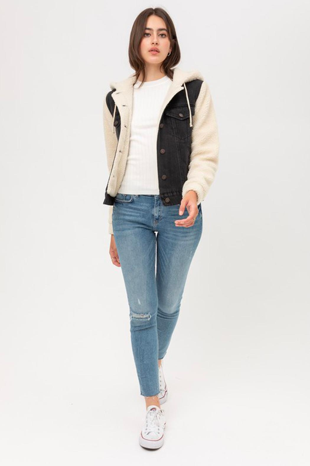 Wild Lilies Jewelry  Denim Sherpa Jacket - Back Cropped Image