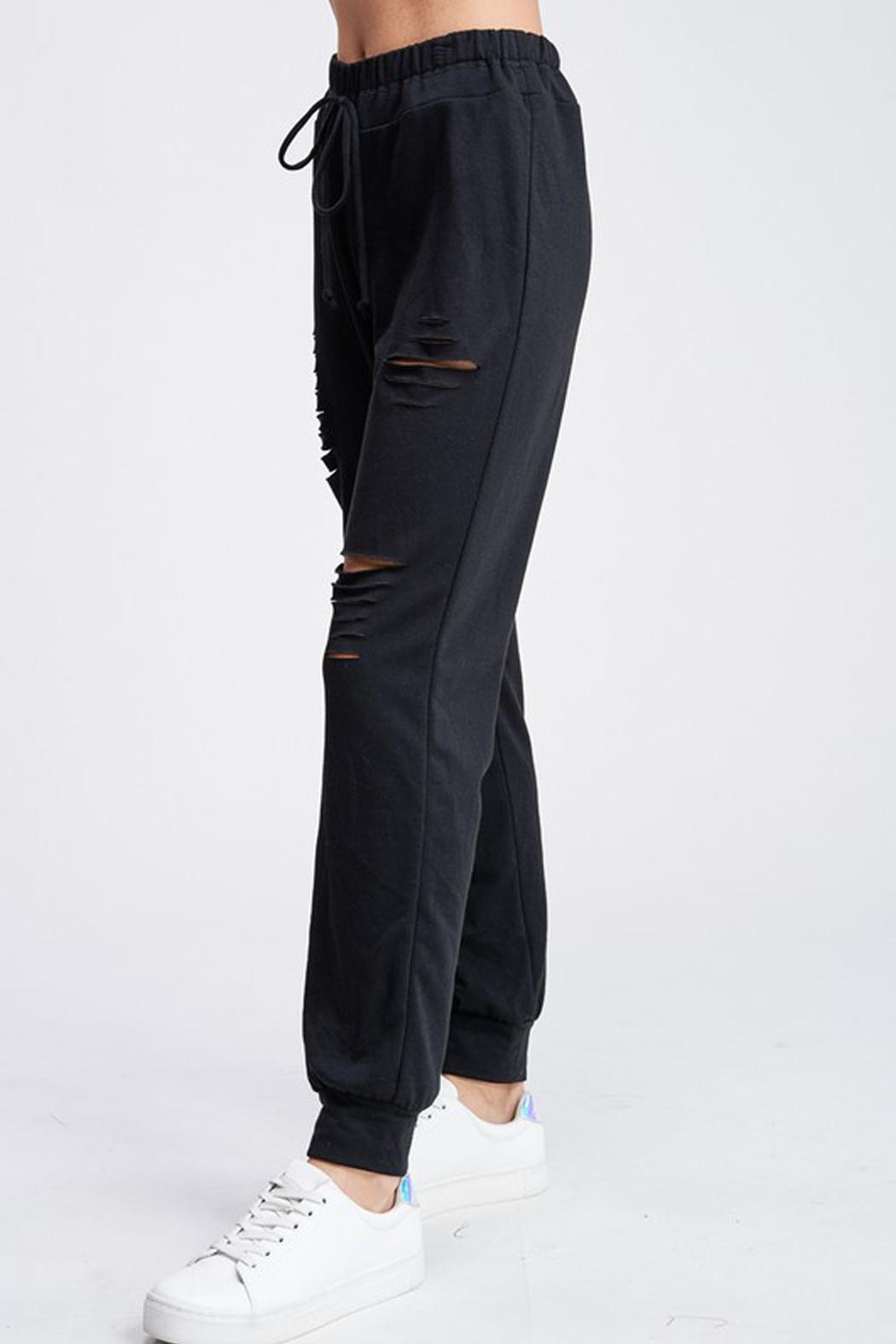 Wild Lilies Jewelry  Distressed Jogger Sweatpants - Front Full Image