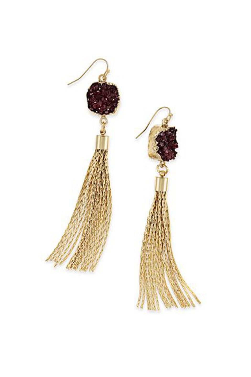 Wild Lilies Jewelry  Druzy Tassel Earrings - Front Full Image