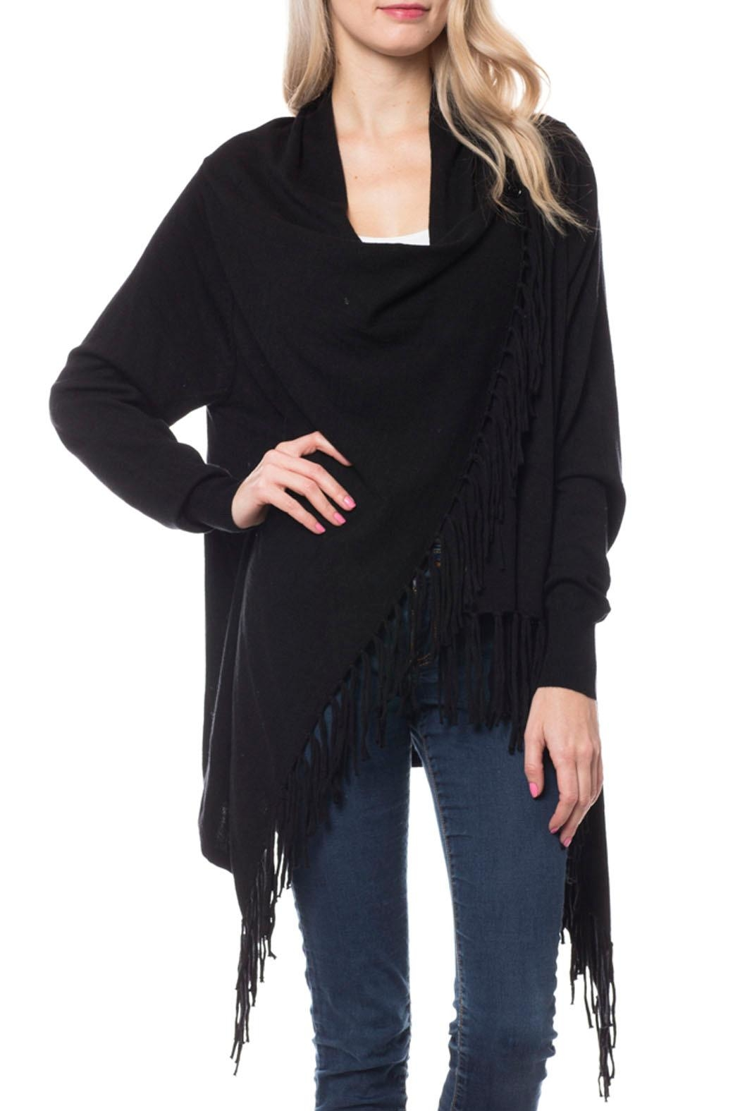 Wild Lilies Jewelry  Fringe Wrap Cardigan - Front Cropped Image
