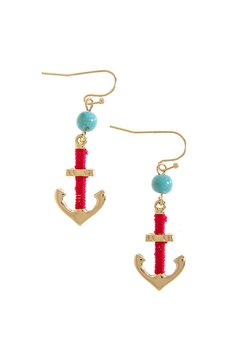 Shoptiques Product: Gold Anchor Earrings