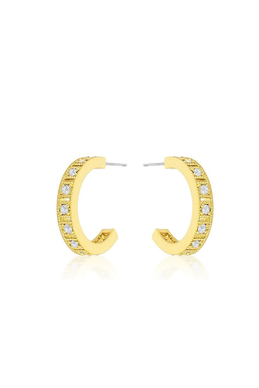 Wild Lilies Jewelry  Gold Crystal Hoops - Main Image