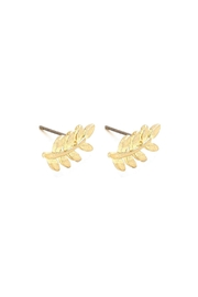 Wild Lilies Jewelry  Gold Leaf Studs - Front full body