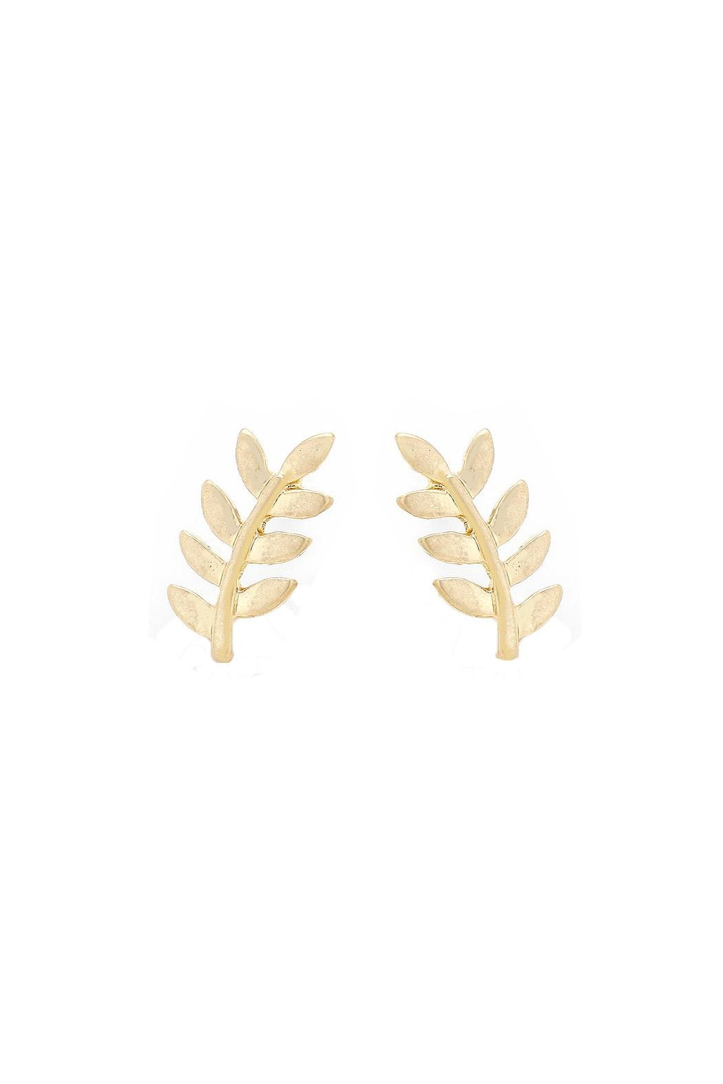 Wild Lilies Jewelry  Gold Leaf Studs - Main Image