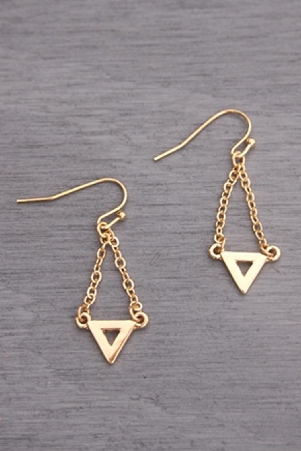 Wild Lilies Jewelry  Gold Triangle Earrings - Front Full Image