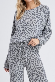 Wild Lilies Jewelry  Gray Leopard Sweater - Front cropped