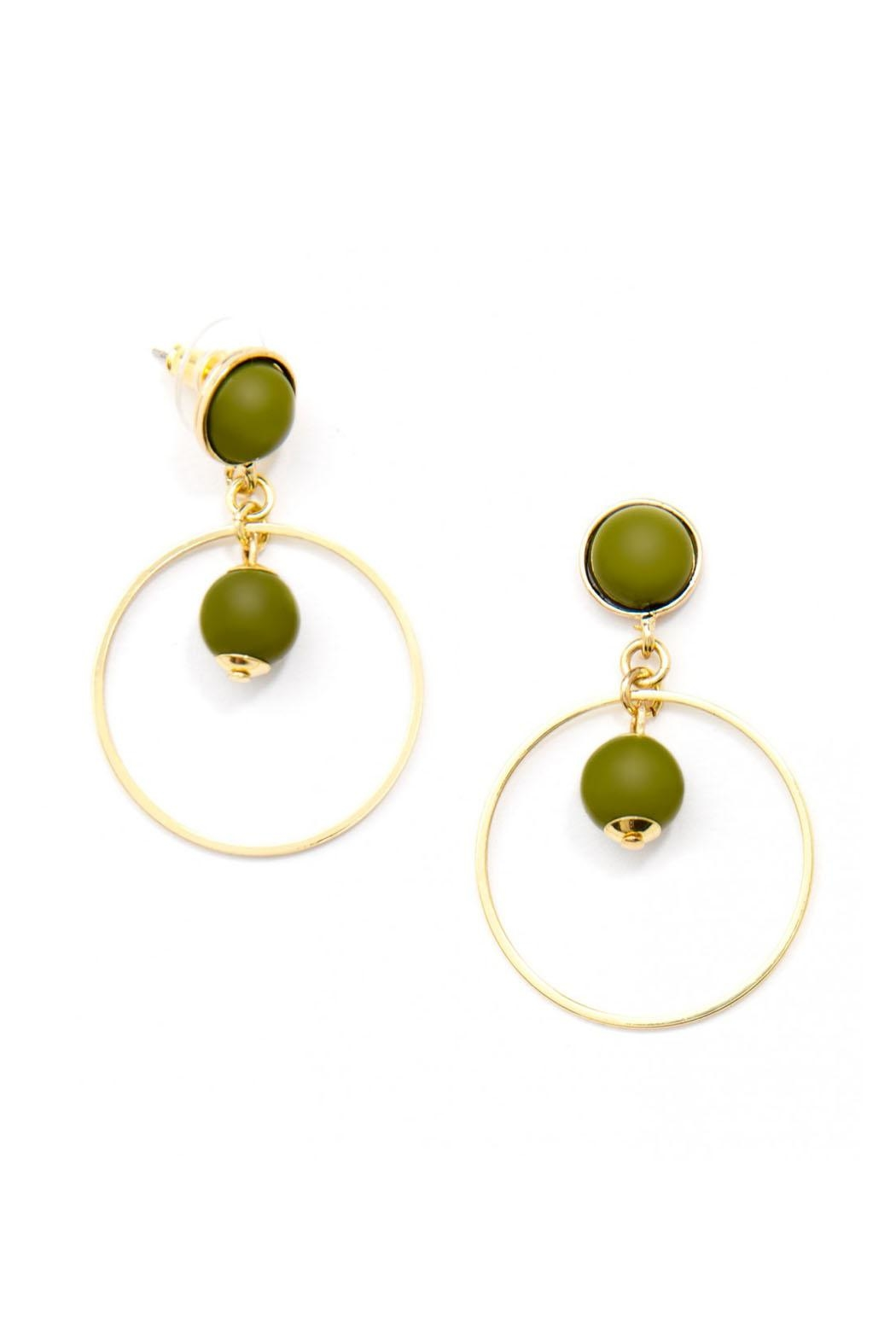 Wild Lilies Jewelry  Green Hoop Earrings - Front Full Image