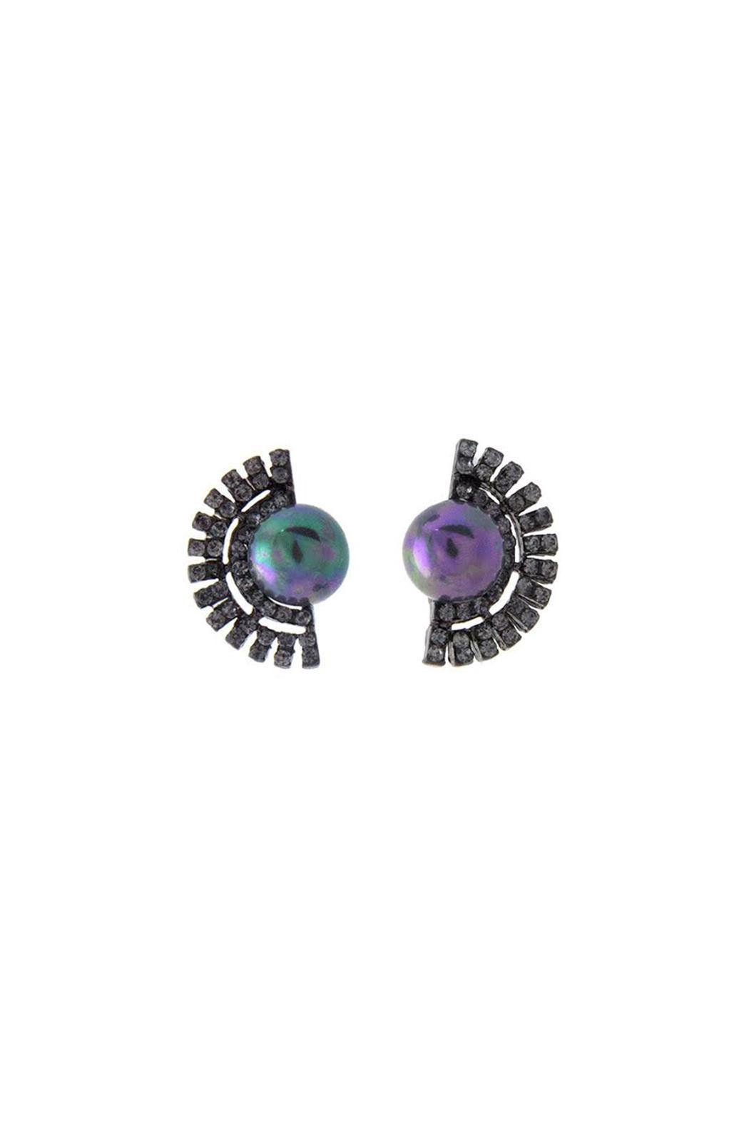 Wild Lilies Jewelry  Hematite Pearl Studs - Front Cropped Image