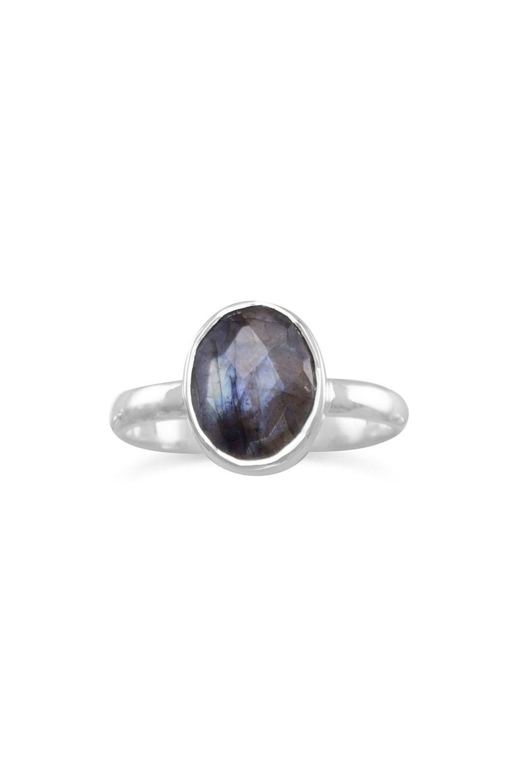 Wild Lilies Jewelry  Labradorite Oval Ring - Front Full Image
