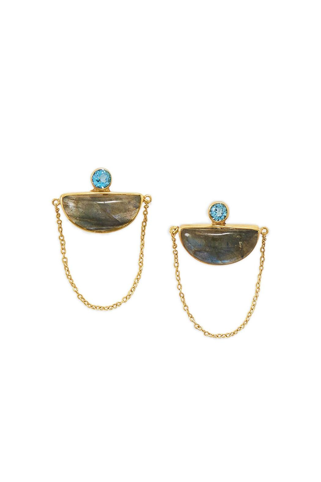 Wild Lilies Jewelry  Labradorite Statement Earrings - Front Full Image