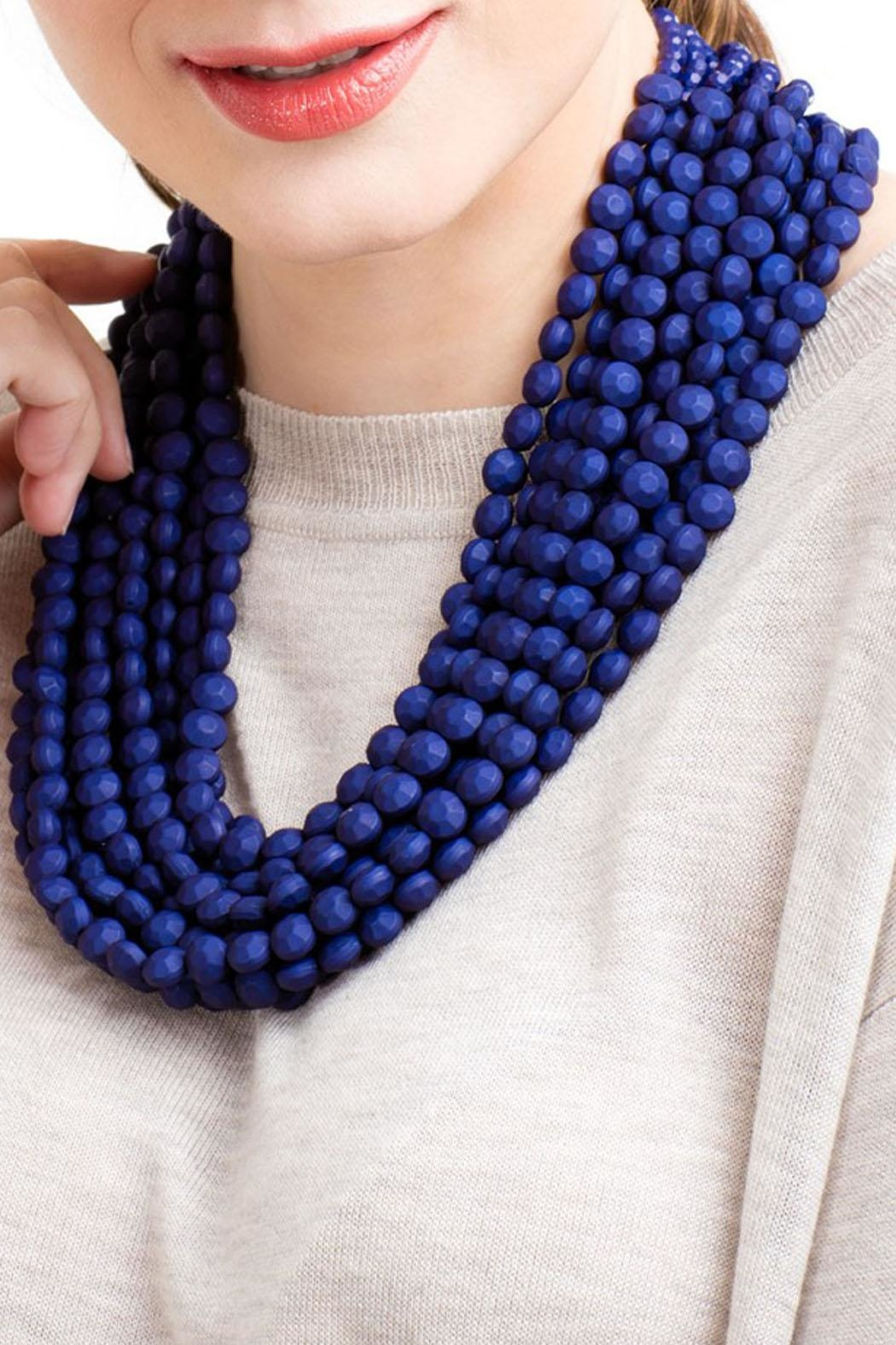 Wild Lilies Jewelry  Navy Statement Necklace - Front Cropped Image