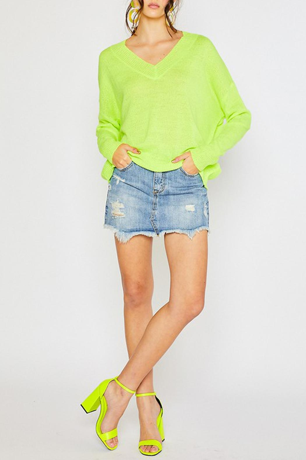 Wild Lilies Jewelry  Neon Yellow Sweater - Back Cropped Image