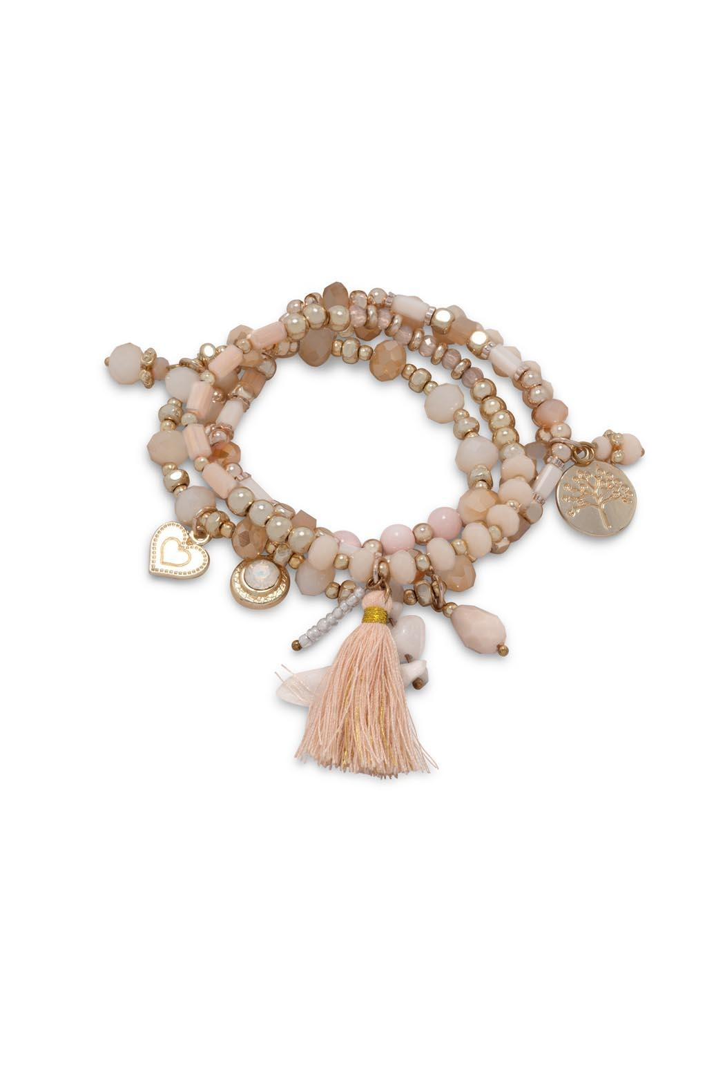 Wild Lilies Jewelry  Peach Charm Bracelet - Front Cropped Image