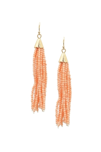 beaded peach salmon hoop and precious semi earrings