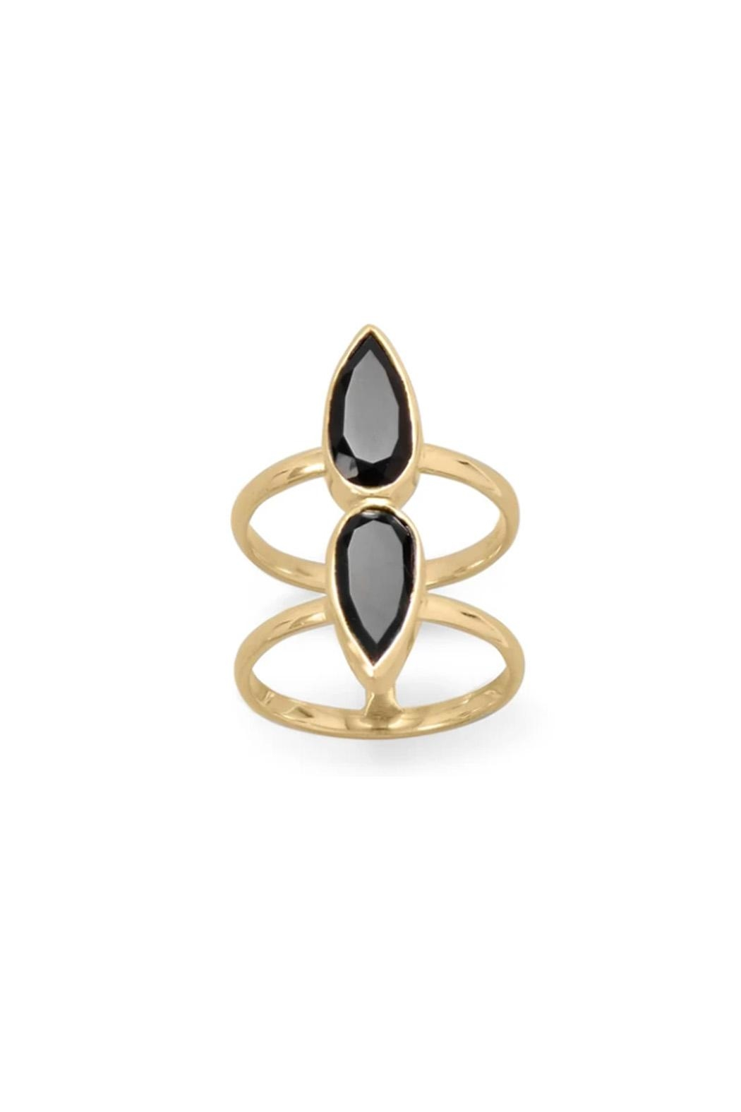 Wild Lilies Jewelry  Pear Onyx Ring - Front Full Image