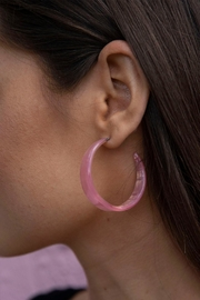 Wild Lilies Jewelry  Pink Celluloid Hoops - Product Mini Image