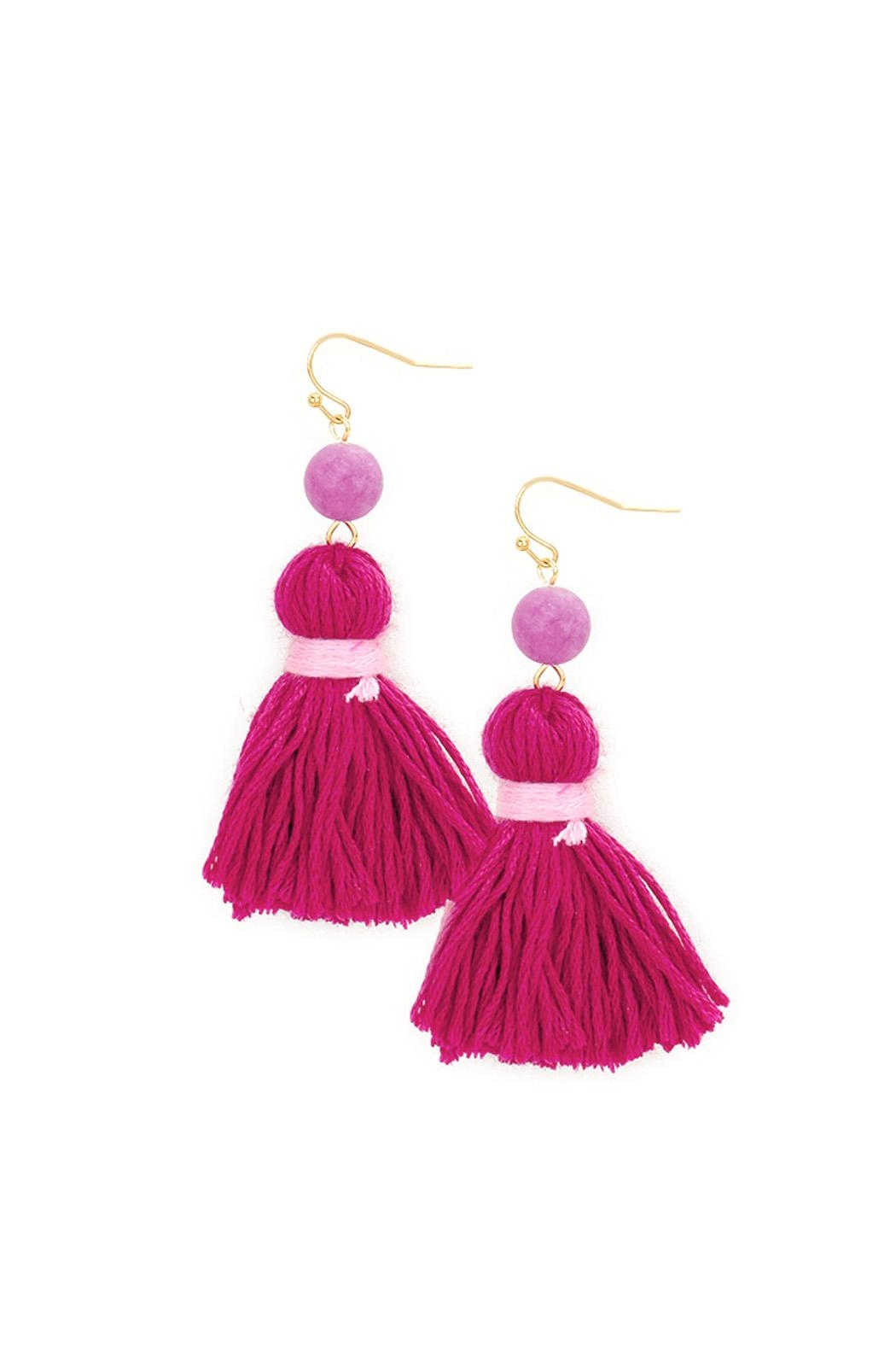 Wild Lilies Jewelry  Pink Tassel Earrings - Front Cropped Image