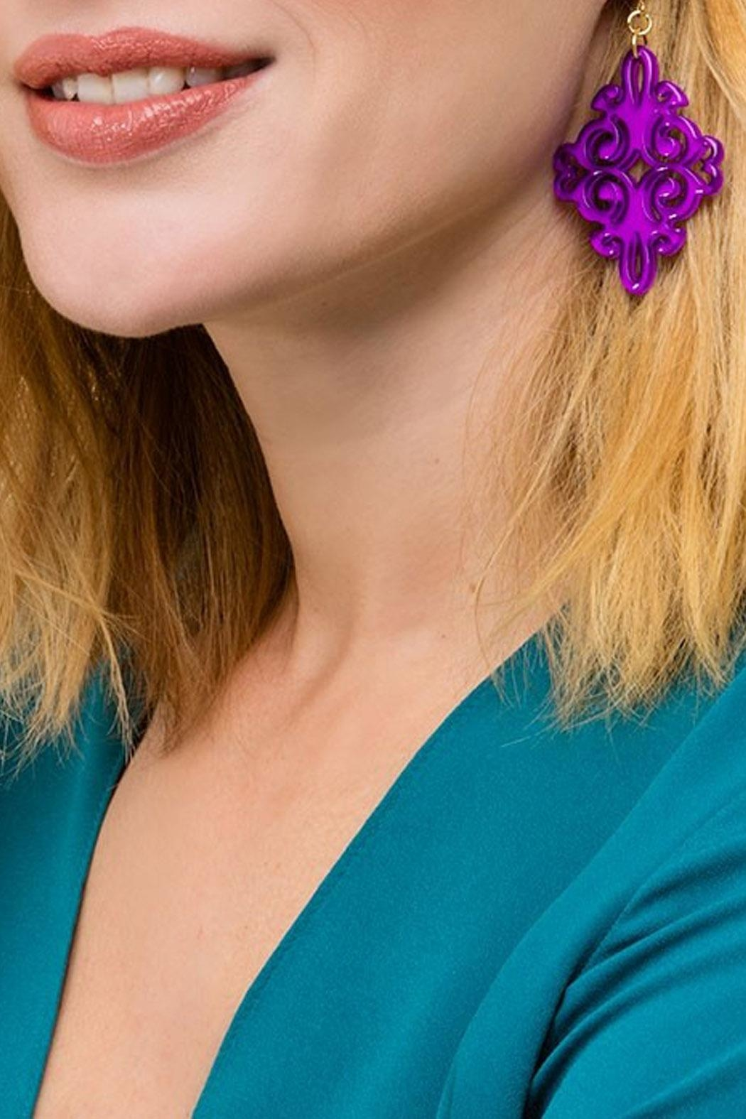 Wild Lilies Jewelry  Purple Statement Earrings - Front Cropped Image