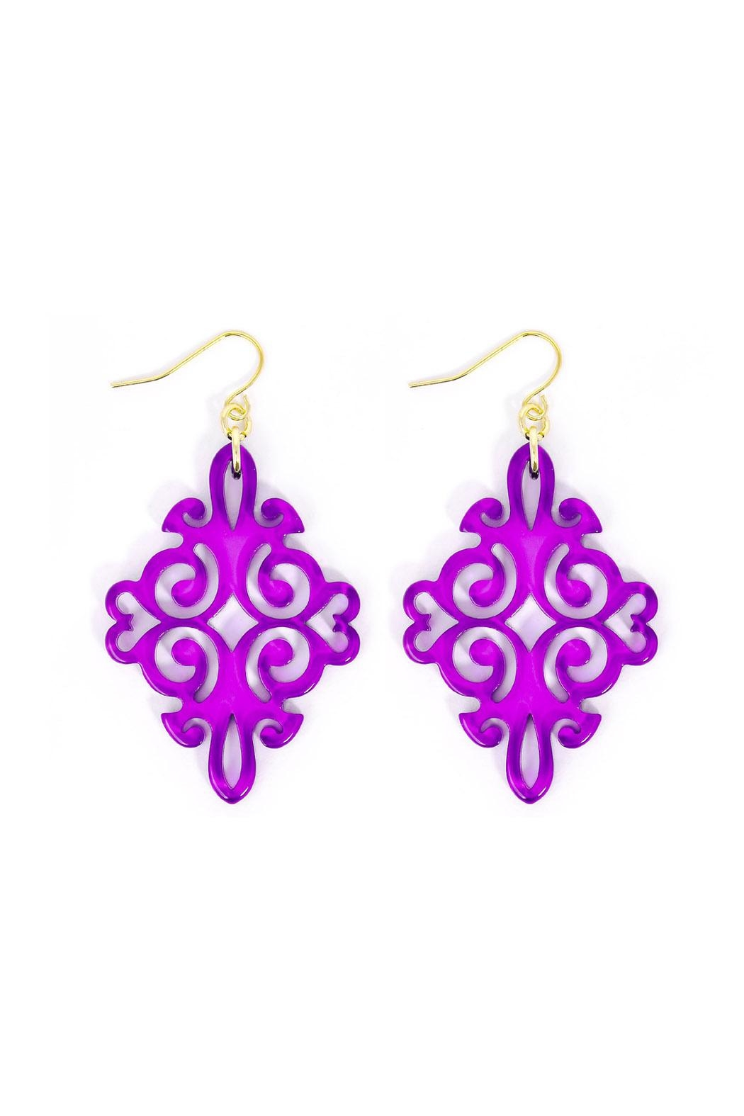 Wild Lilies Jewelry  Purple Statement Earrings - Front Full Image