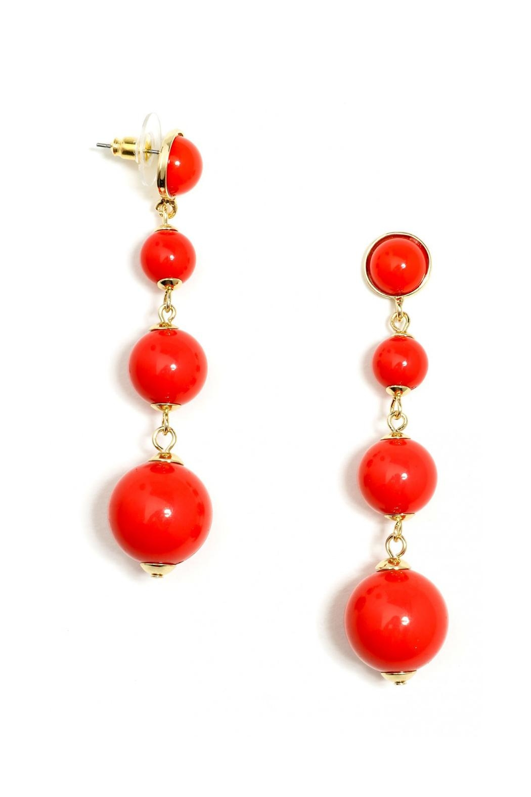 Wild Lilies Jewelry  Red Ball Earrings - Front Full Image