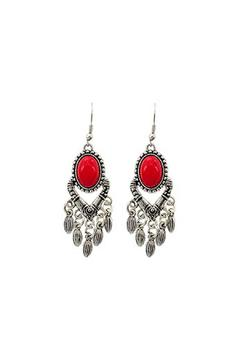 Shoptiques Product: Red Dangle Earrings