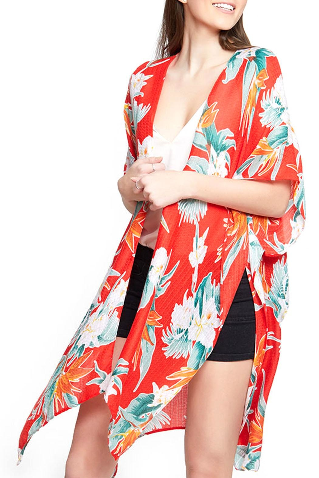 Wild Lilies Jewelry  Red Floral Kimono - Main Image