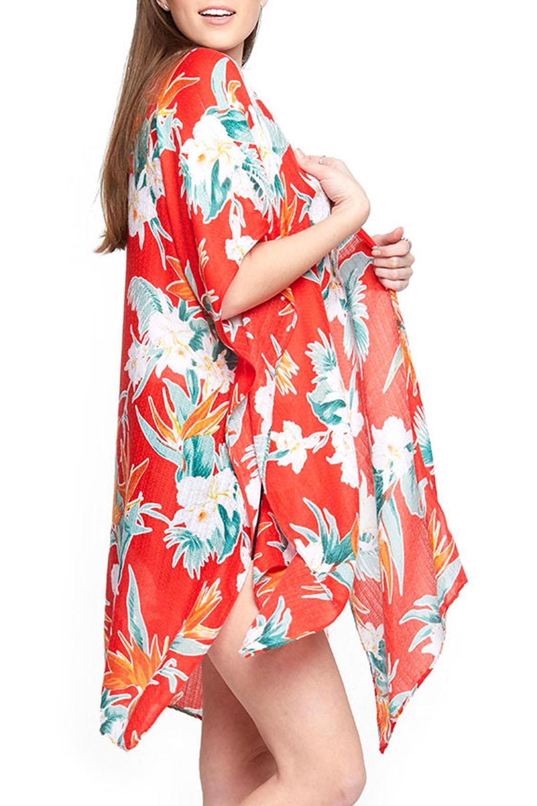 Wild Lilies Jewelry  Red Floral Kimono - Front Full Image