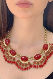 Wild Lilies Jewelry  Red Fringe Necklace - Front cropped