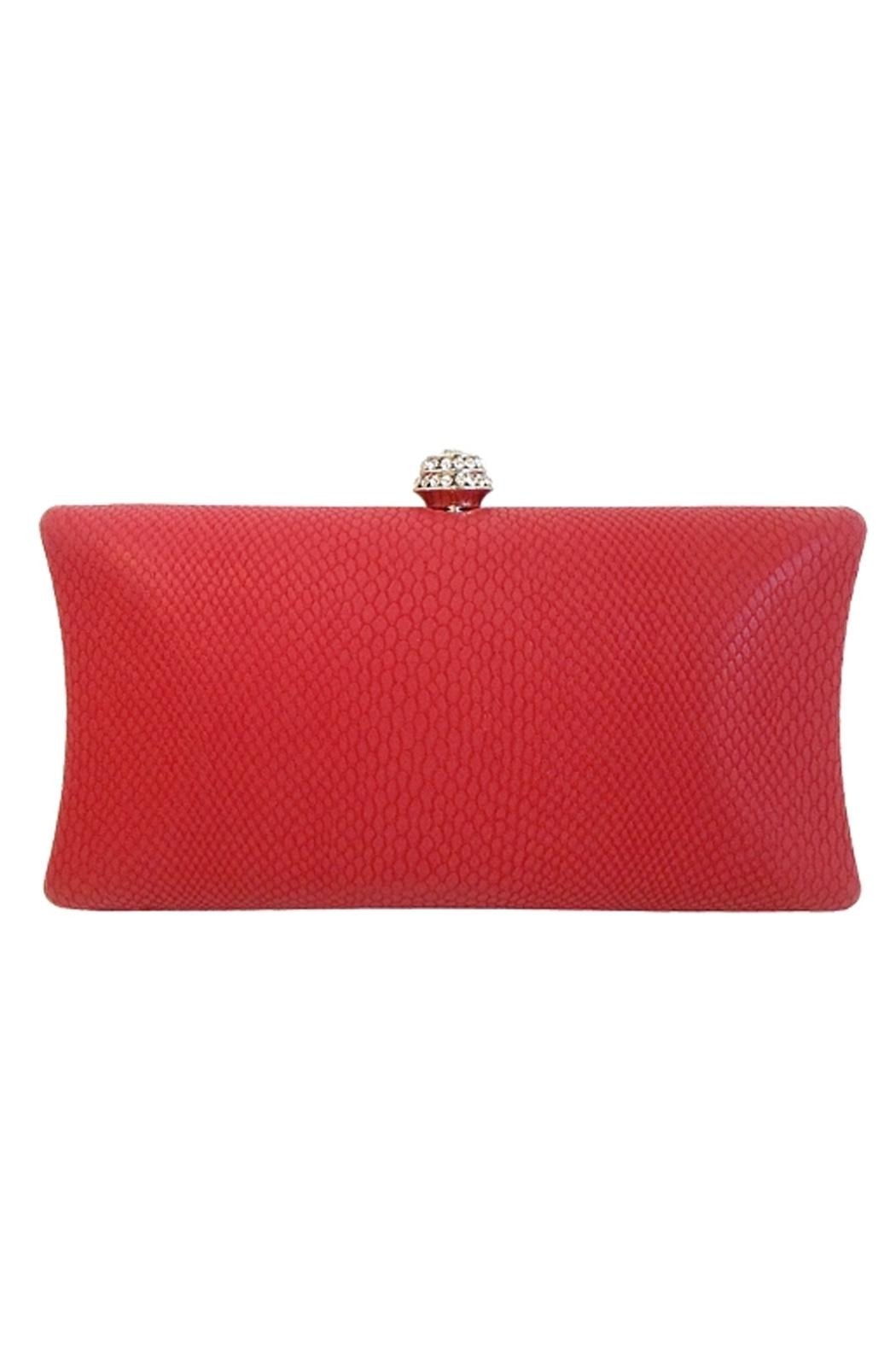 Wild Lilies Jewelry  Red Snakeskin Clutch - Front Full Image