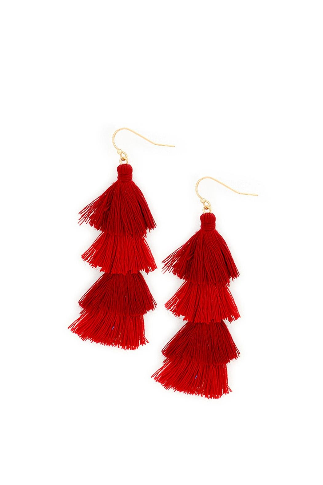 Wild Lilies Jewelry  Red Tassel Earrings - Main Image