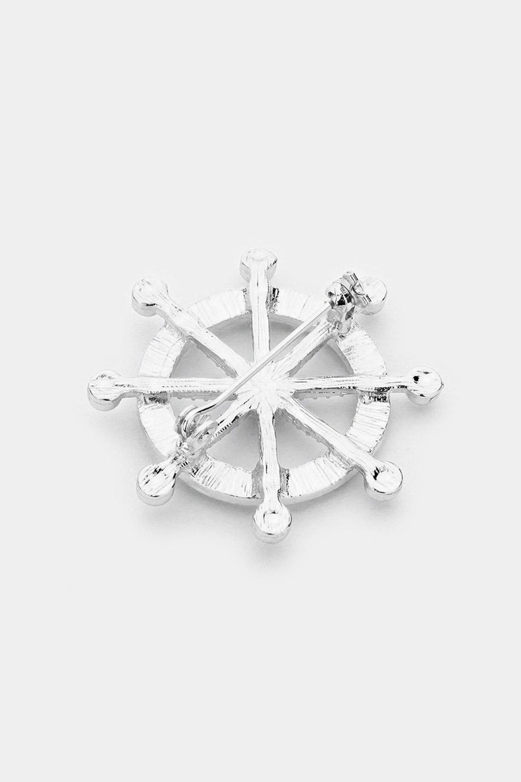 Wild Lilies Jewelry  Ship Wheel Brooch - Front Full Image