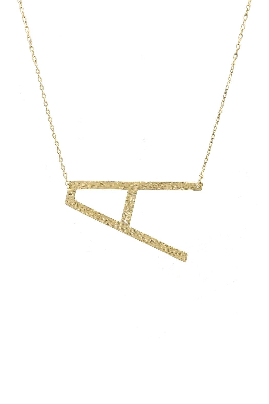 initial necklace sideways gold vermeil letter plated zoom hover to