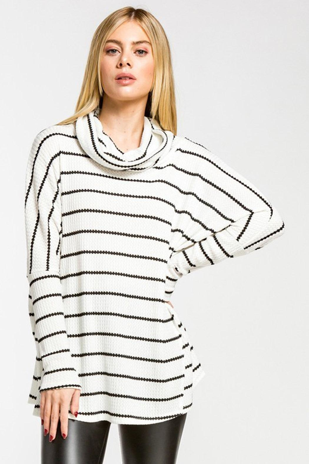 Wild Lilies Jewelry  Striped Cowl Turtleneck - Front Full Image