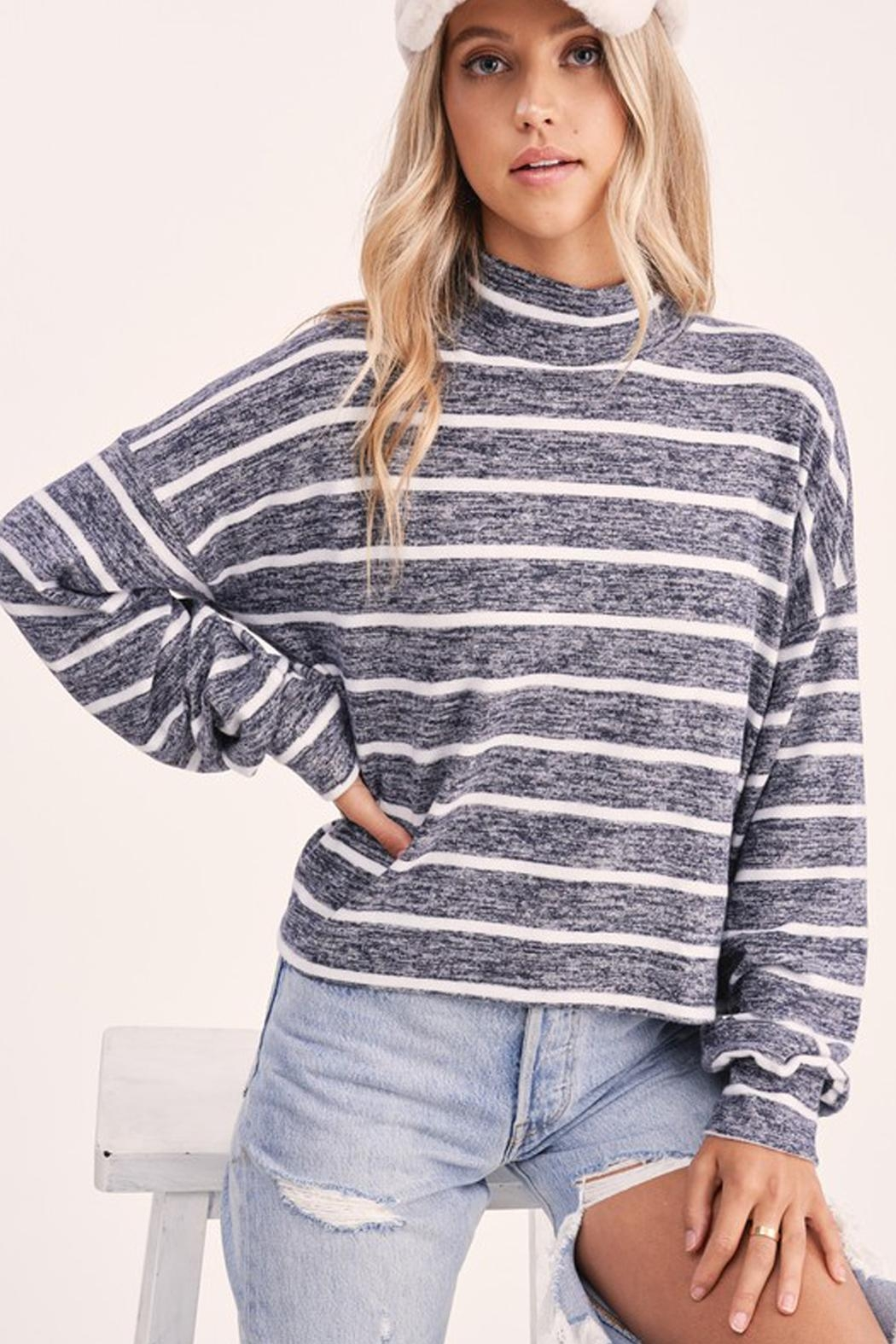 Wild Lilies Jewelry  Striped Crop Turtleneck - Side Cropped Image